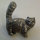 Cat Theme Pewter Pin Badge Ref 3