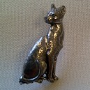 Cat Theme Pewter Pin Badge Ref 7